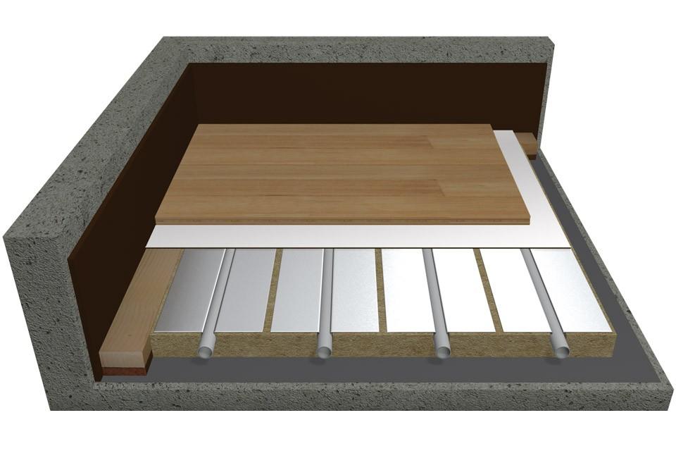 Soluzione per rivestimento in legno o laminato a posa flottante